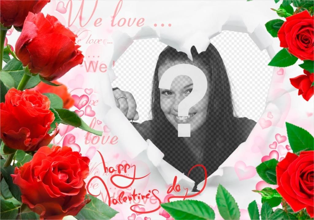 Romantica cornice con rose e un cuore per inserire le tue foto