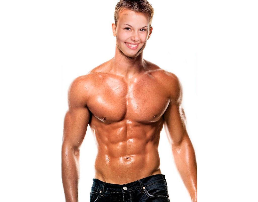 Fotomontaggio di un uomo muscoloso e forte per dare un volto