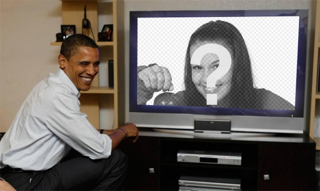 Fotomontaggio di Obama alla TV, dove sarà la fotografia. Carica la tua foto