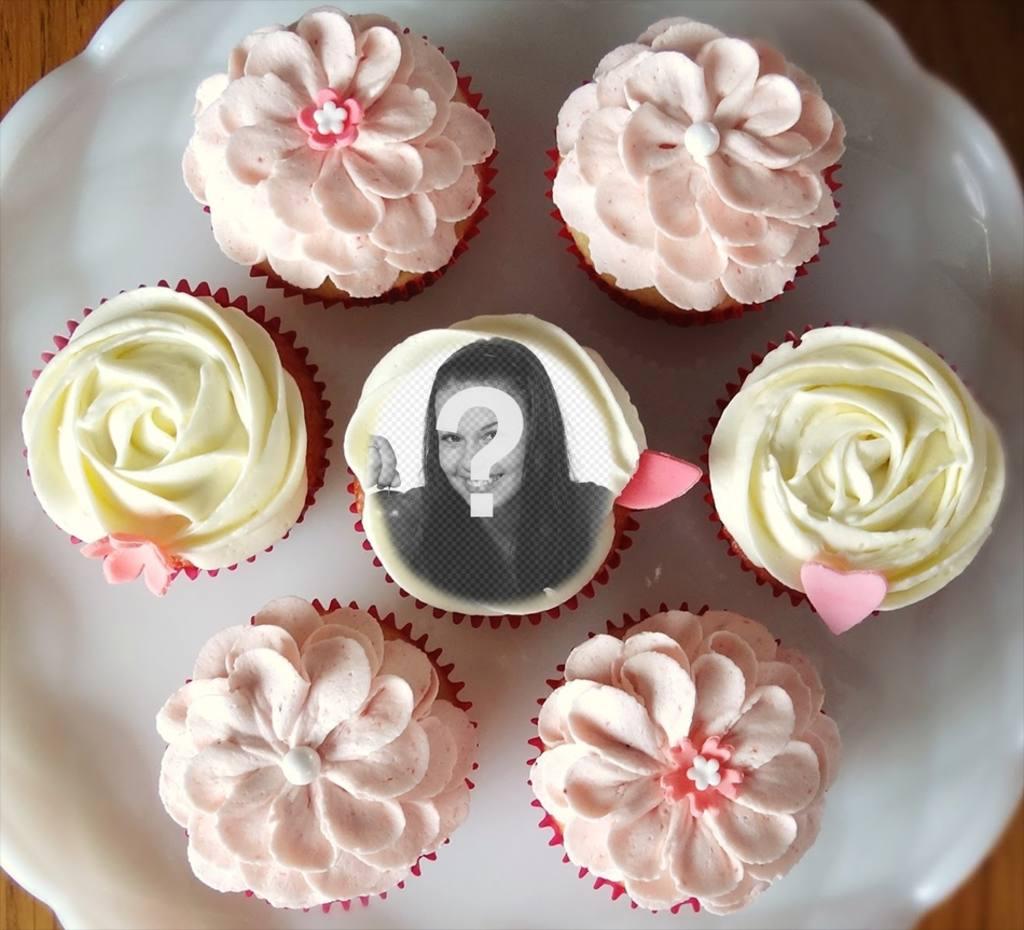 Fotomontaggio di mettere la tua foto allinterno di un cupcake, circondata da molti