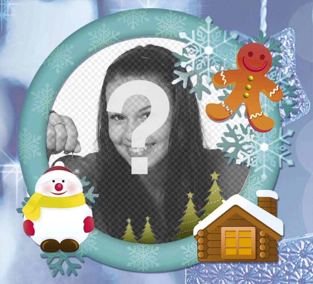 Cornice per foto in linea con la neve per la scheda di Natale