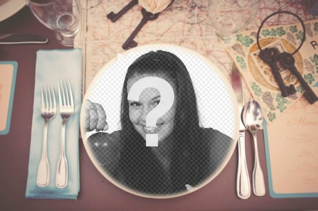 Fotomontaggio di mettere la tua foto su un piatto