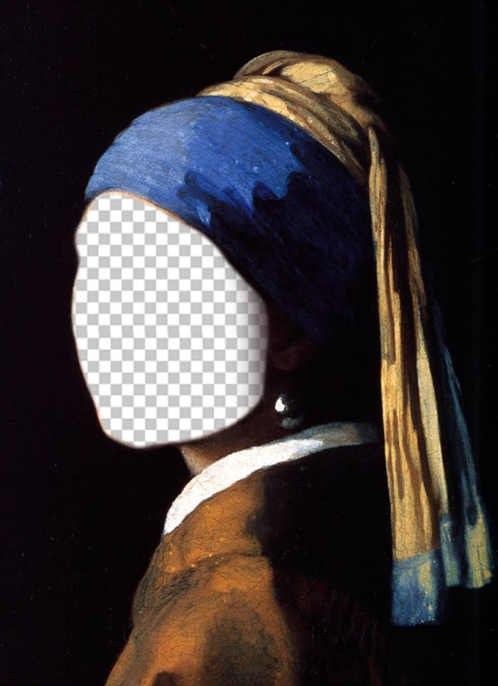 Fotomontaggio con la ragazza con lorecchino di perla