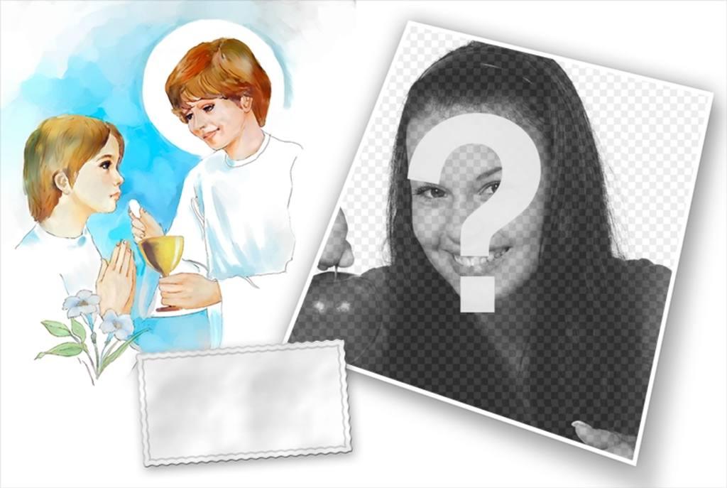 Fotomontaggio con la tua foto della prima comunione
