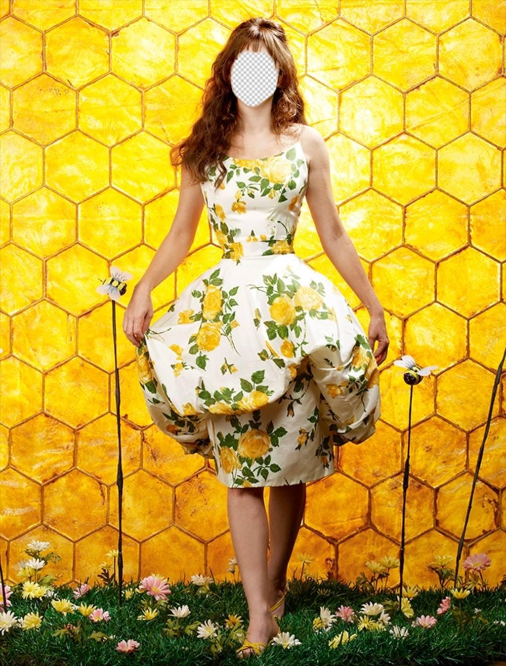 Fotomontaggio di una ragazza in posa con uno sfondo