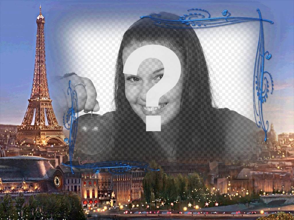 """Cornice per foto con sfondo di Parigi, la città dell""""amore per fare con una foto"""