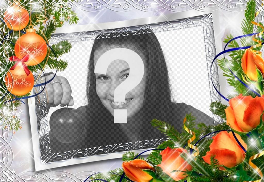 Photo frame di Natale con le palle e fiori darancio