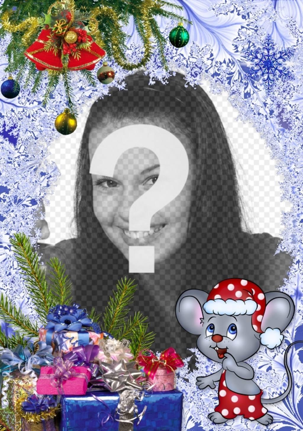 Bambini di Natale Cartolina di mettere la tua foto accanto a un mouse di Natale