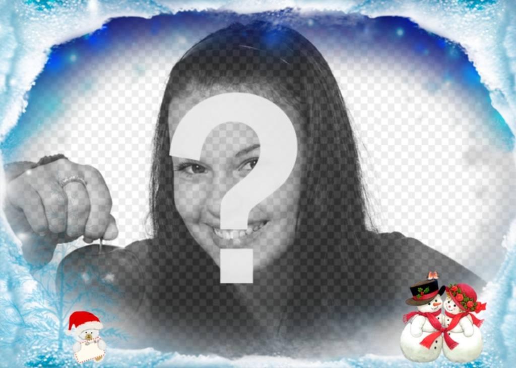 Photo frame per complimentare nevoso di Natale con pupazzi di neve