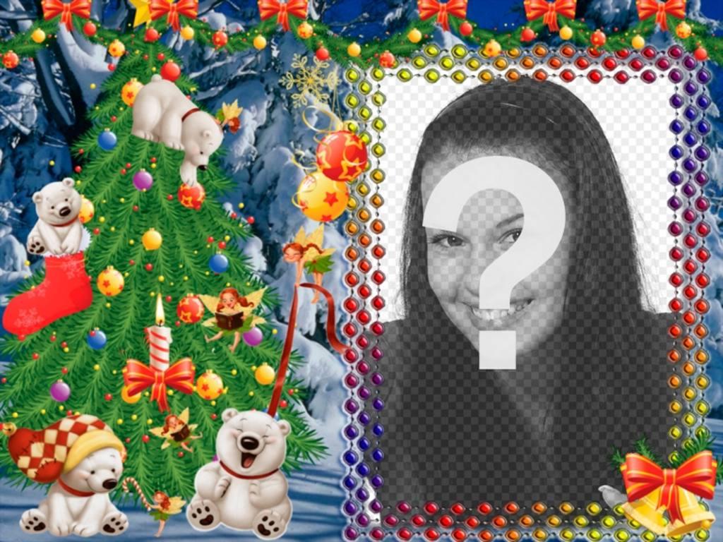 Metti la tua foto in questa cornice di Natale con gli orsi panda