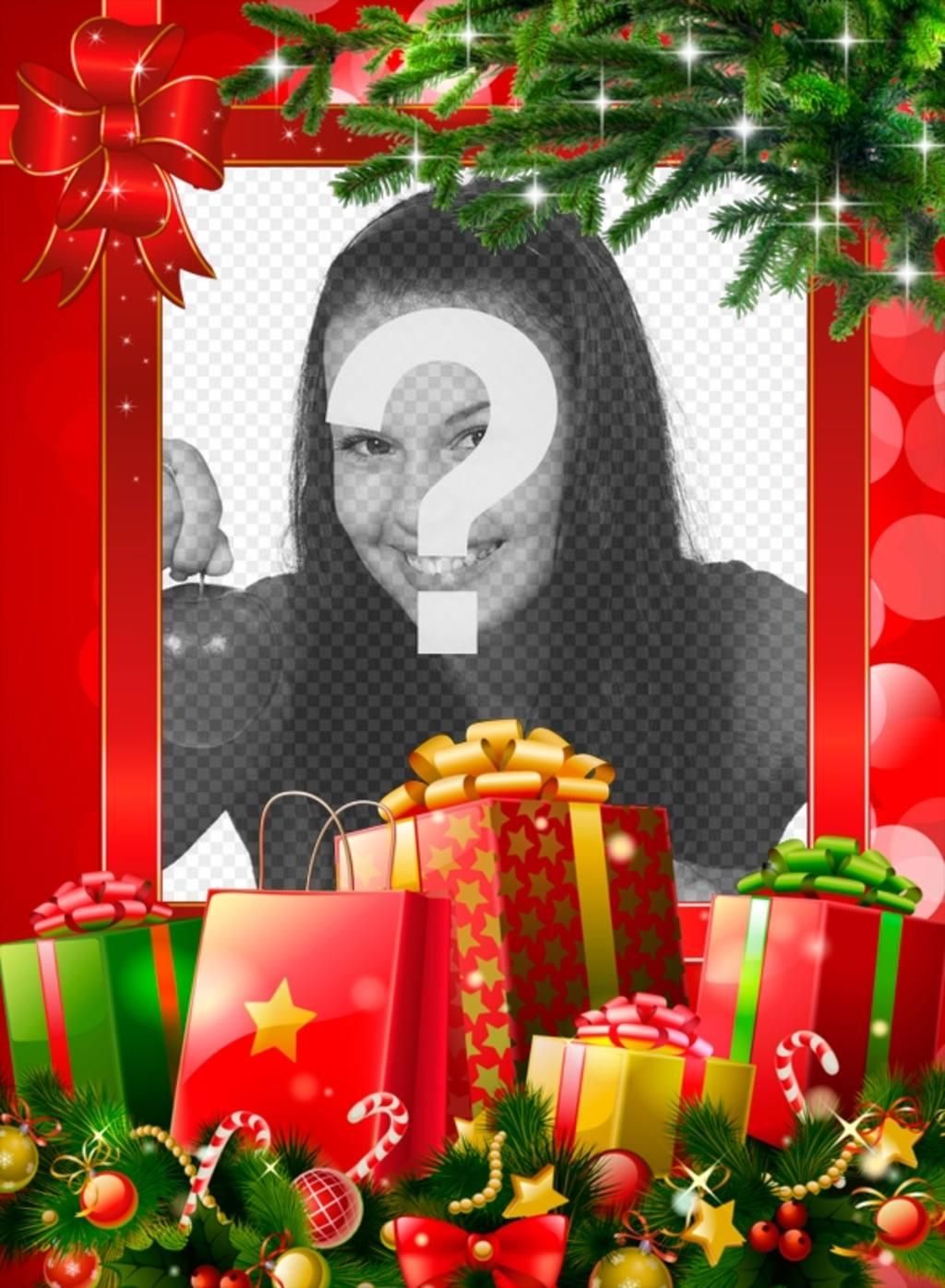 Immagini Natale Da Personalizzare.Cornice Di Natale Con Molti Regali Da Personalizzare Con La