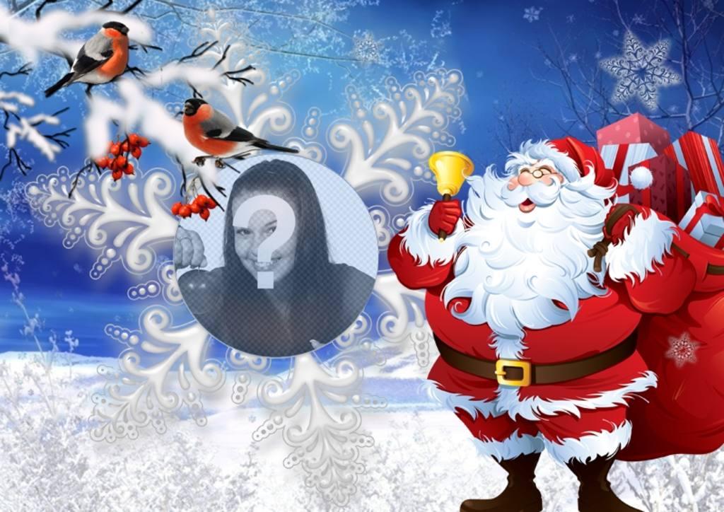 Effetto foto con Babbo Natale e uccellini