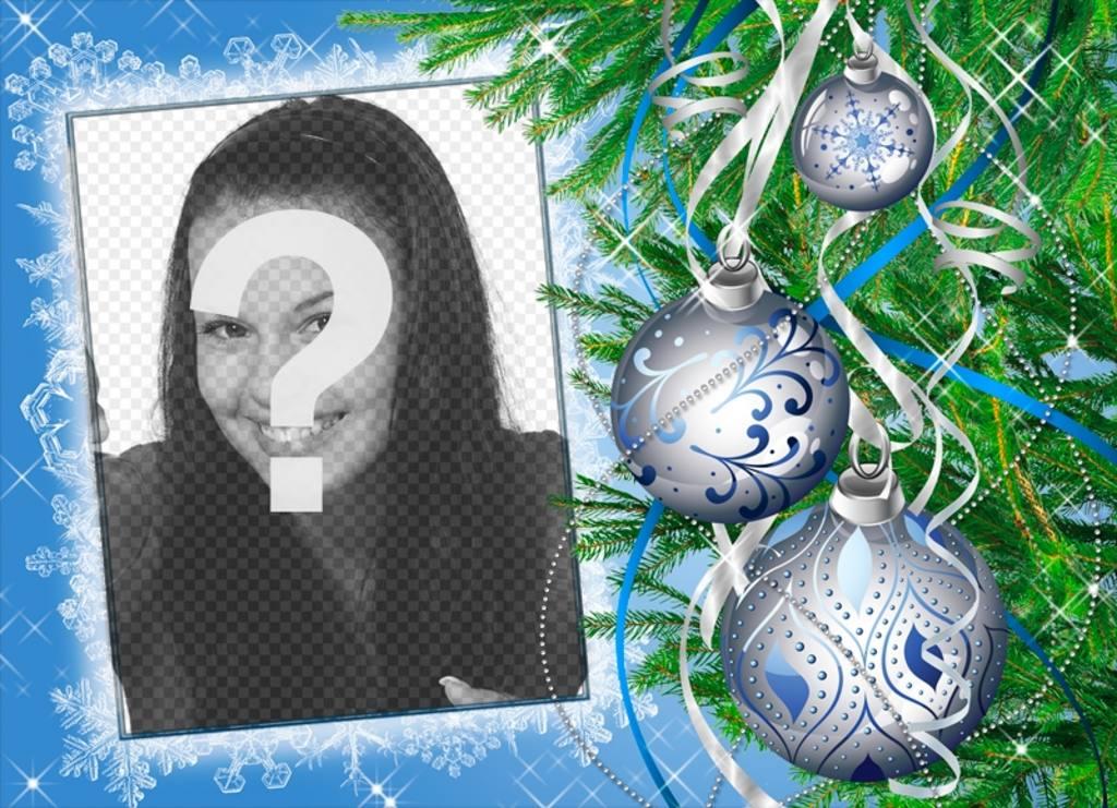 Photo frame per personalizzato in linea decorata con un albero di Natale