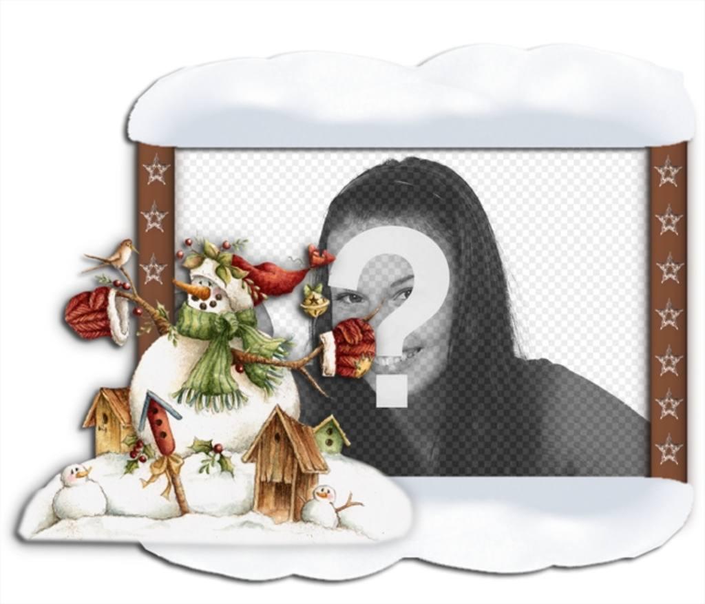 Cornice per foto con bordo neve e un pupazzo di neve. Metti la tua foto nel bacgound online e gratis