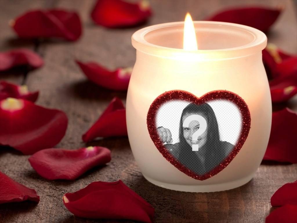 Effetto Foto damore con una candela e un cuore