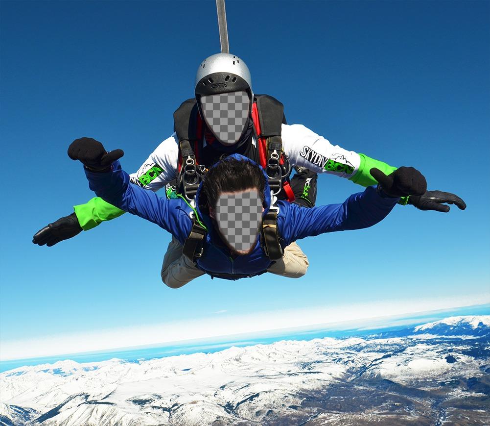 Effetto Foto di due persone in un paracadute per due foto