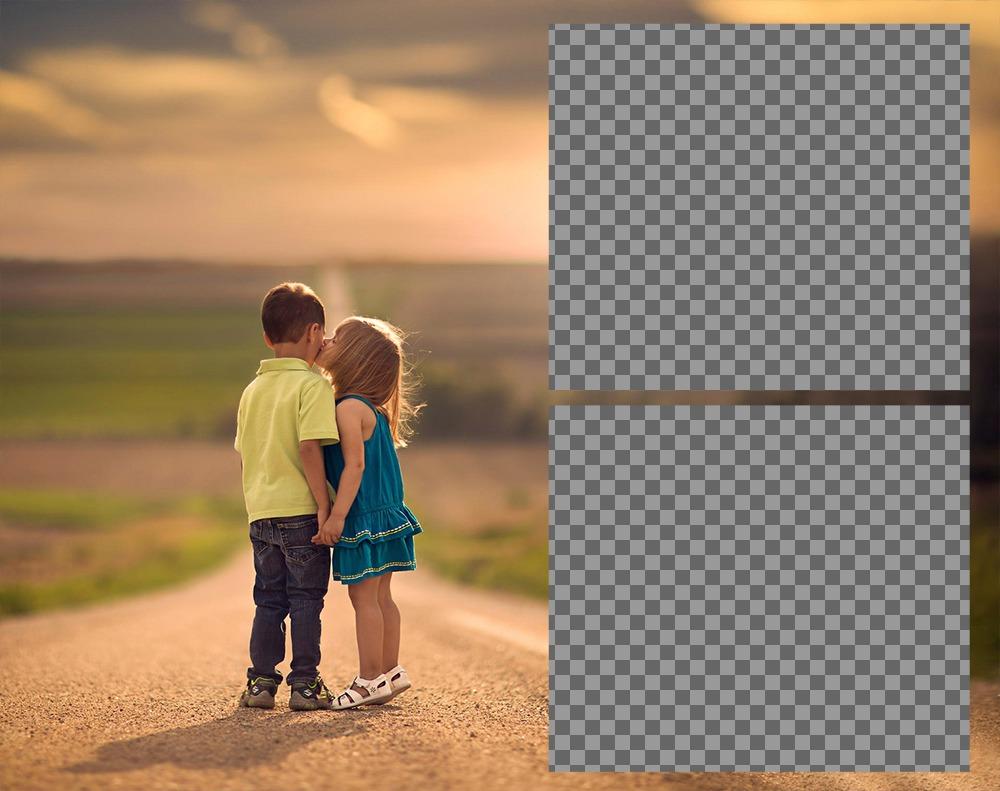 Effetto Foto damore con due bambini per due foto