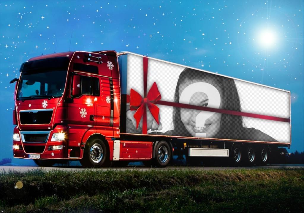 Effetto Foto di un camion di Natale per caricare una foto