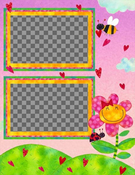 Bambino cornice con le immagini di un ape e fiore per