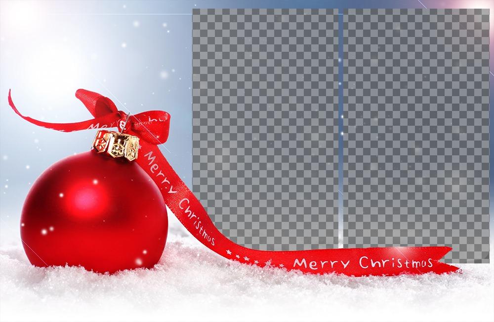 Effetto foto con una palla di Natale per due foto