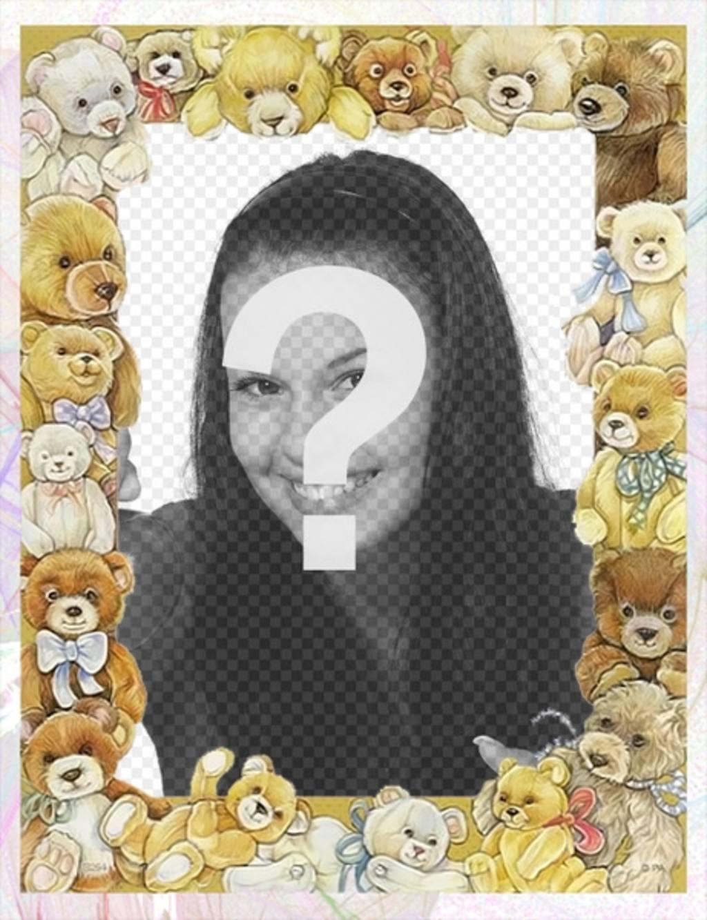 Cornice per foto con immagini di bambini orsi che circonda