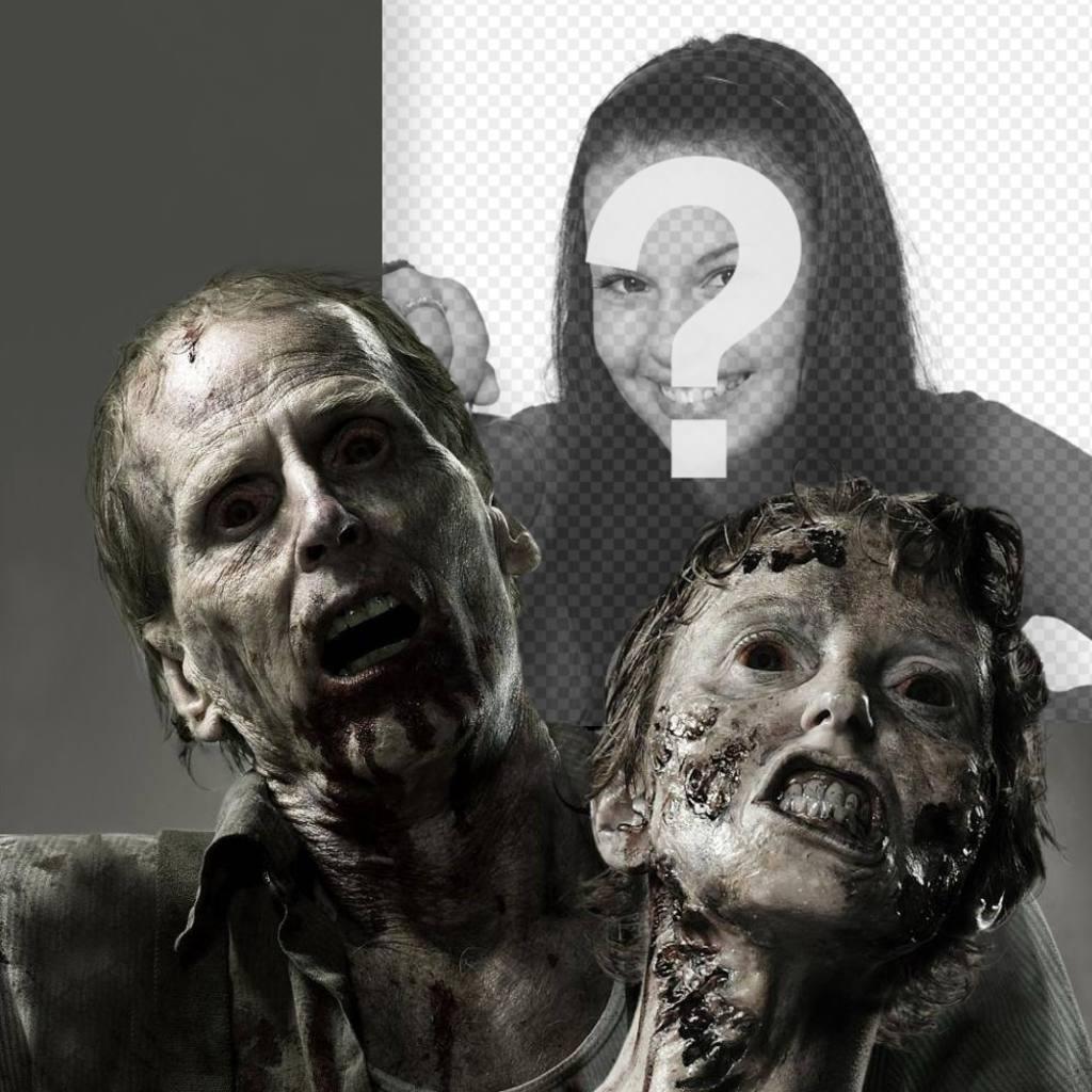 Fotomontaggio del terrore con gli zombi con la tua foto