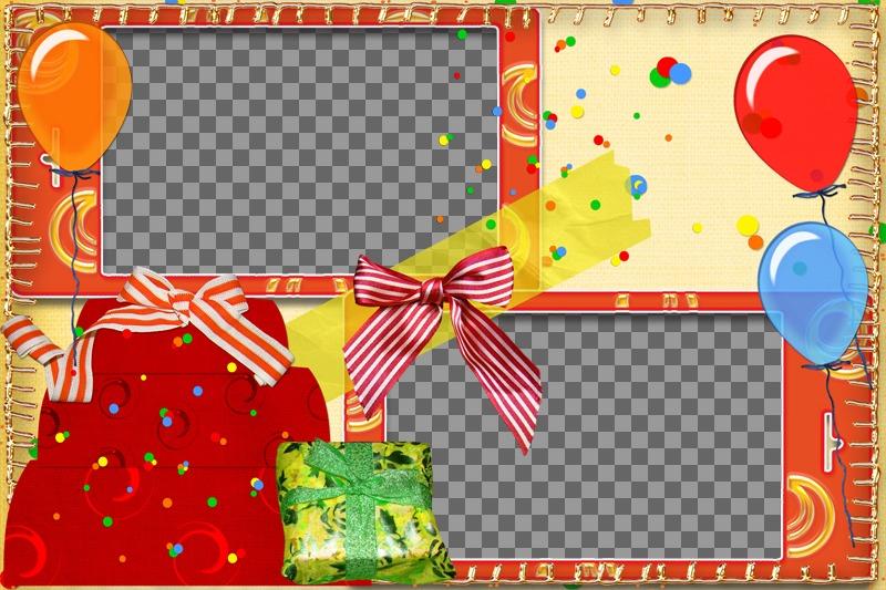 Cartolina di compleanno con palloncini e regali per due foto