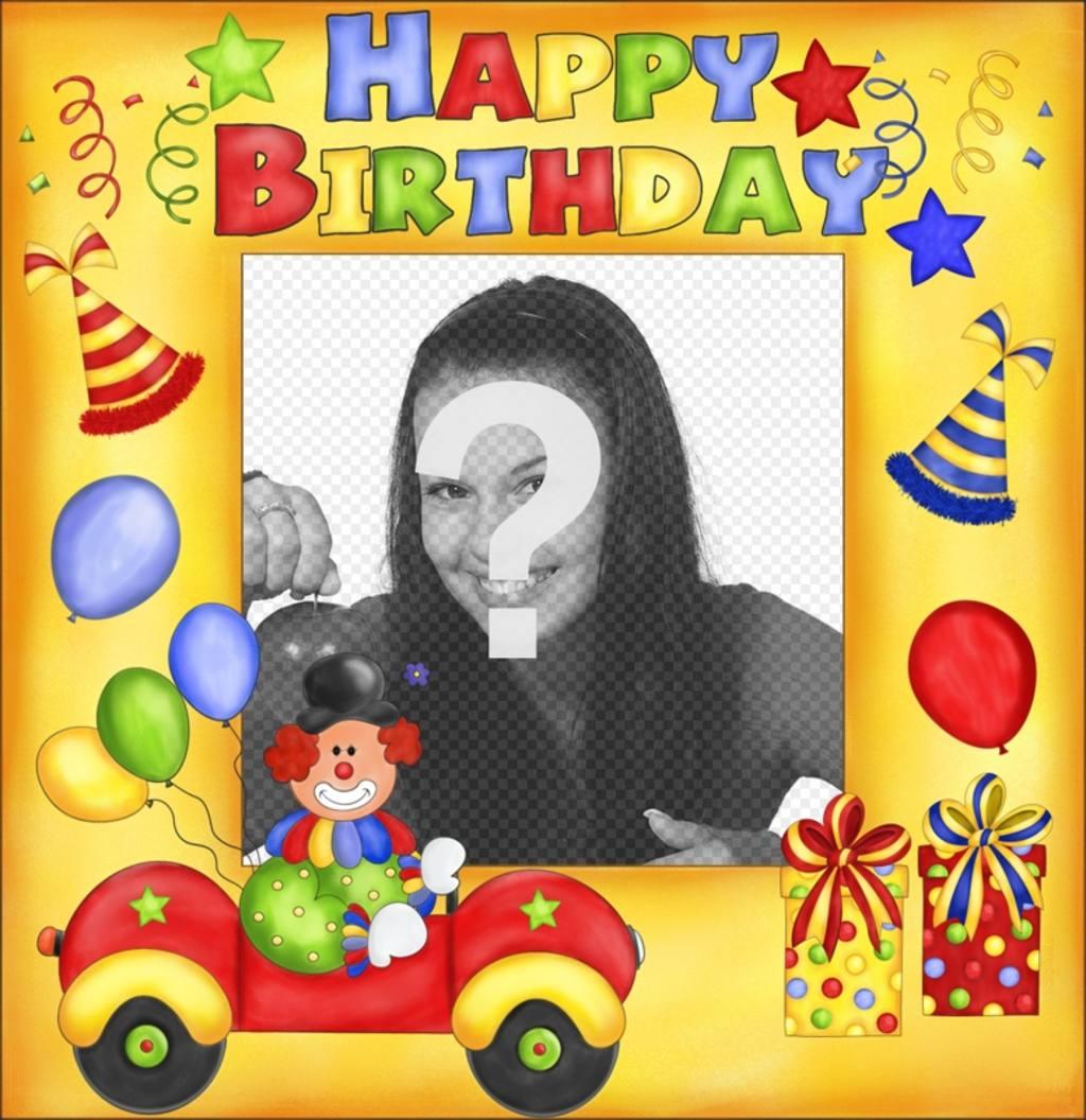 Cartolina di compleanno felice con clown e palloncini