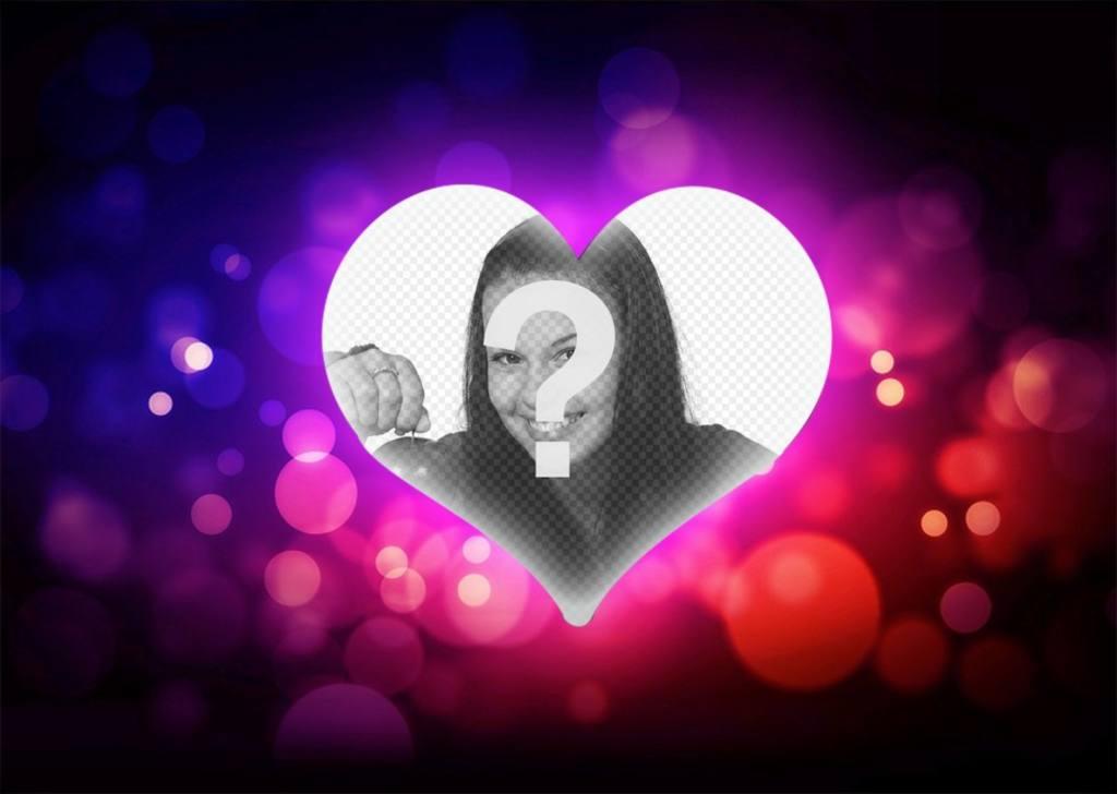 Cornice decorativa con un cuore di amore e di luci per la vostra foto