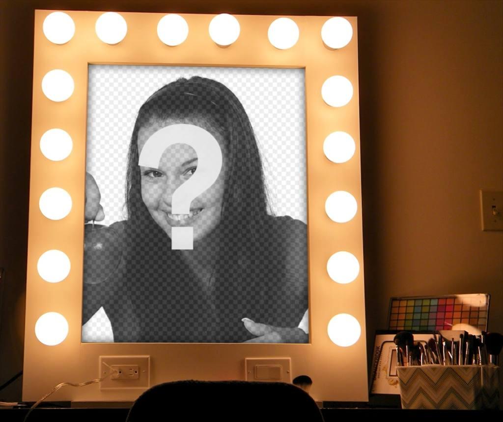 Foto effetto di uno specchio con luci e trucco per caricare la tua foto fotoeffetti - Specchio per trucco con luci ...