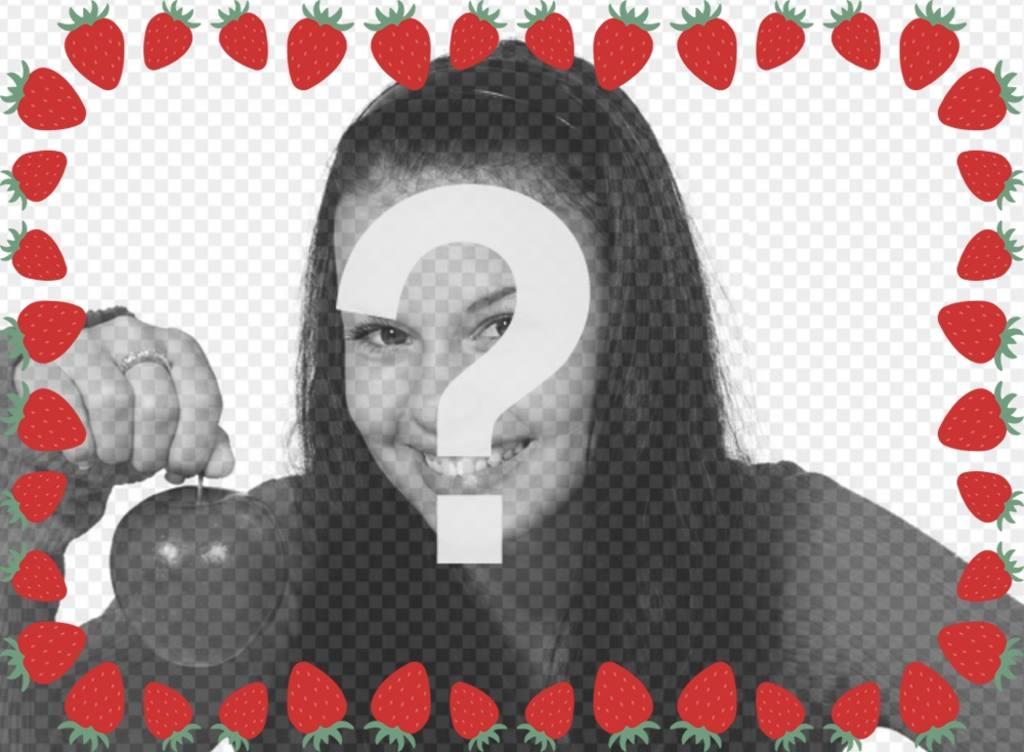 Photo frame con le fragole per decorare le immagini e leffetto photo Dolce