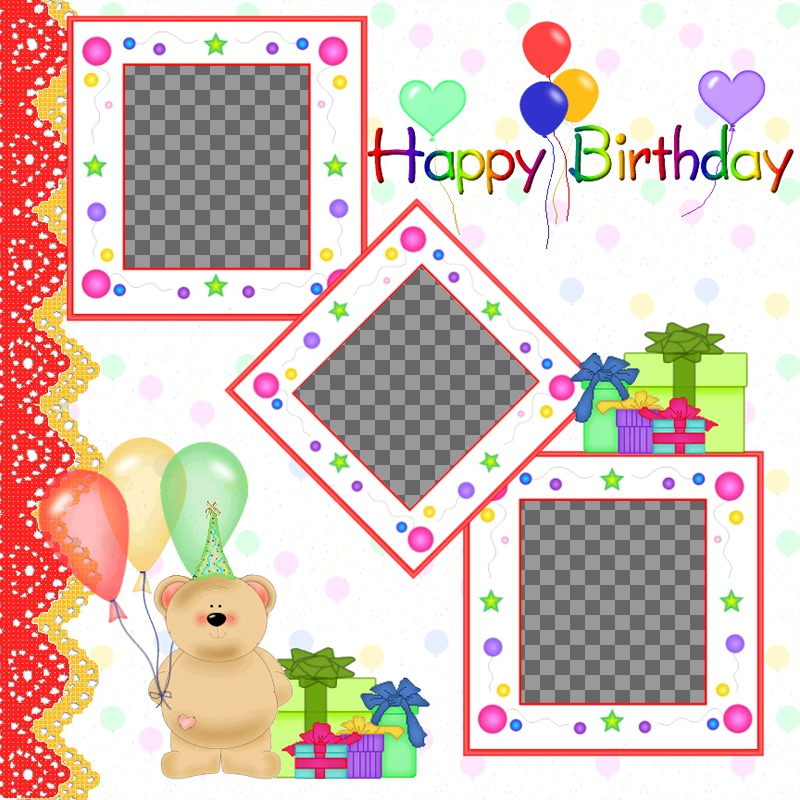 Cartolina / birthday card per 3 foto con palloncini e regali orsacchiotto orso