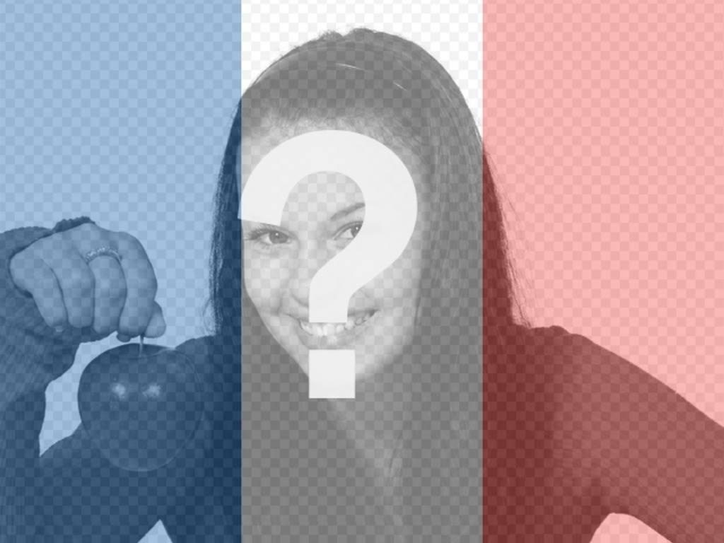 Fotomontaggio di mettere la tua foto con la bandiera della Francia per fare online