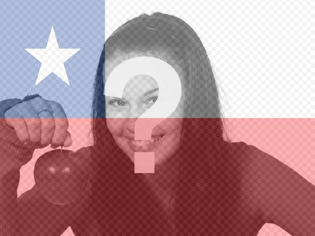 Fotomontaggio di mettere la bandiera del Cile nella tua foto per il tuo profilo Facebook o Twitter