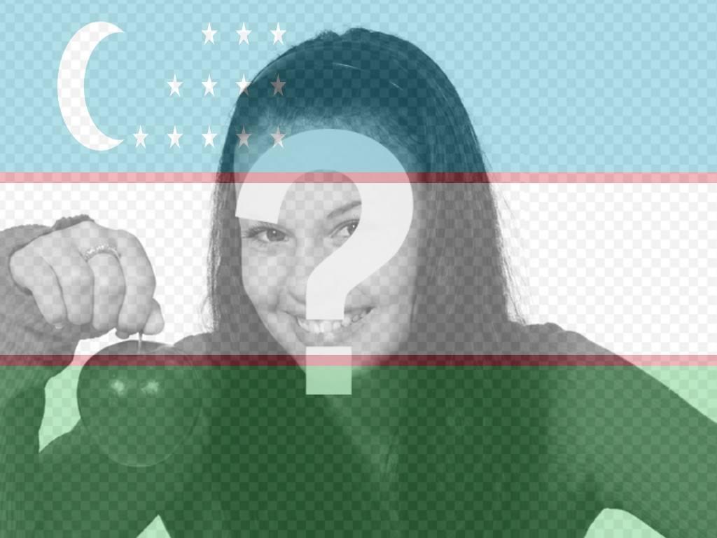 """Collage on line con la bandiera dell""""Uzbekistan con la vostra foto"""