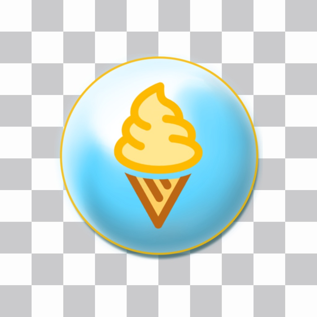 Piatto con gelato alla vaniglia come un perno sulle vostre foto. Questo dolce sticker on-line
