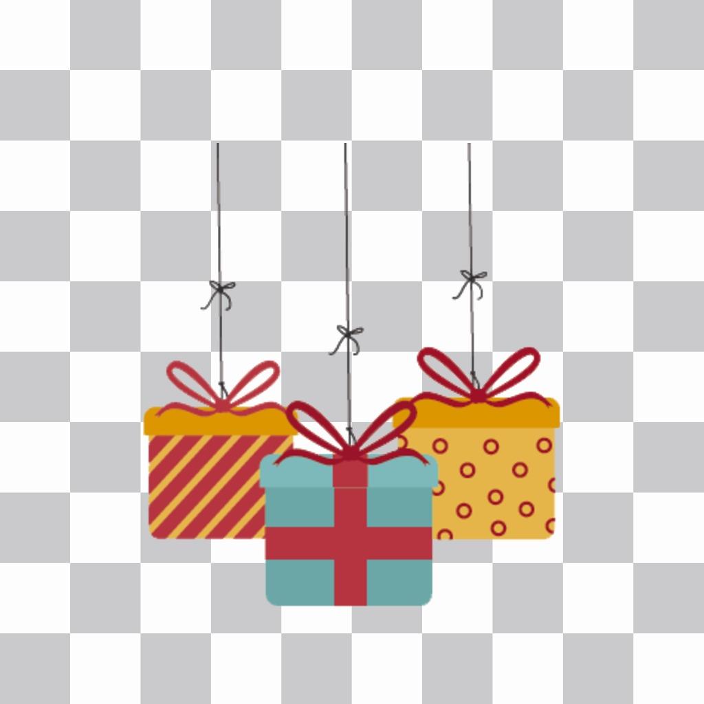 Adesivi di tre scatole regalo per le tue foto