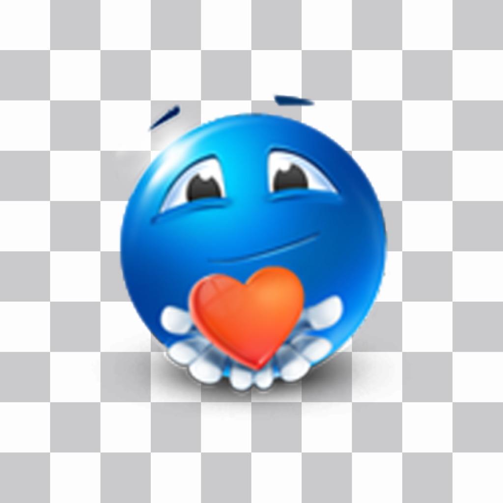 Emoticon blu con cuore rosso