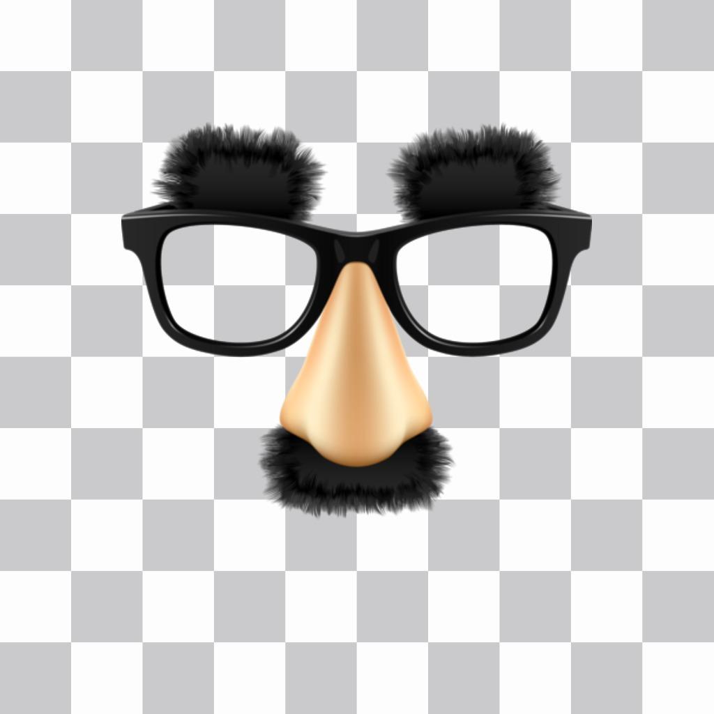 Sticker con gli occhiali baffi e le sopracciglia di Groucho Marx, il grande comico è possibile inserire nelle vostre foto