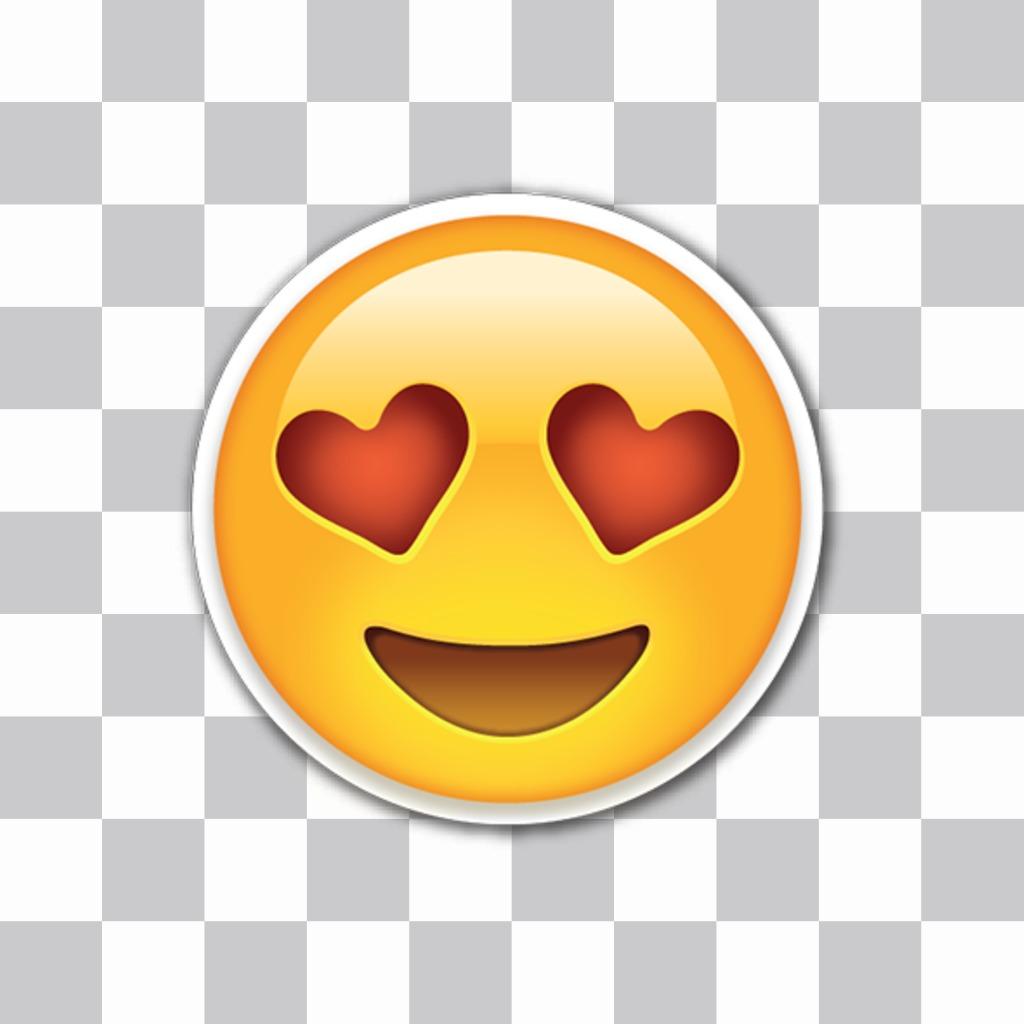 Editor per mettere amore emoji con gli occhi del cuore nelle mie foto